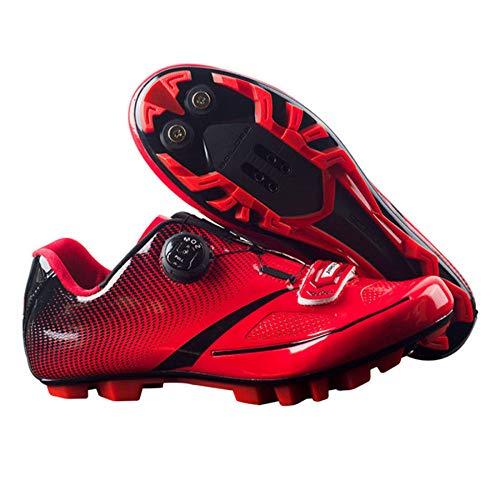 PIAOL Calzado De Ciclismo para Hombre,con Plantilla De Amortiguación Zapato De para Bicicleta De Carreteratranspirable Zapatillas De Ciclismo MTB,Red-45