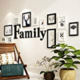 WYL Set di 12 Cornici per Foto,Creativo Foto Muro Ornamento,Cornici Foto Collage,combinata Cornici Multipla Foto,con Accessori Family (Color : Black And White, Size : 205 * 72cm)