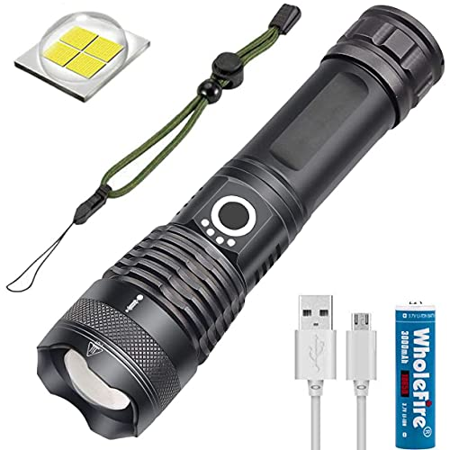 WholeFire XHP70 Linterna LED Super Brillante de 5000 Lúmen, Recargable por USB, Potente Linterna con Zoom, Pantalla de Alta Potencia para Camping y Deportes al Aire Libre, Batería de 3000mAh incluida
