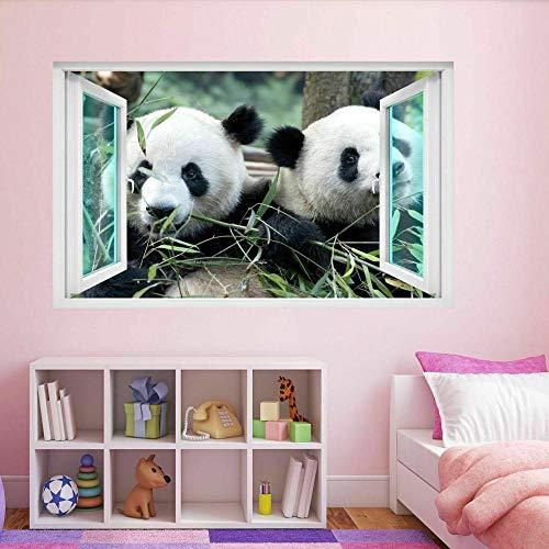 Pegatinas de pared Lindo oso panda Animal 3D etiqueta de la pared Mural calcomanía habitación de los niños decoración del hogar póster papel tapiz- 80×120cm