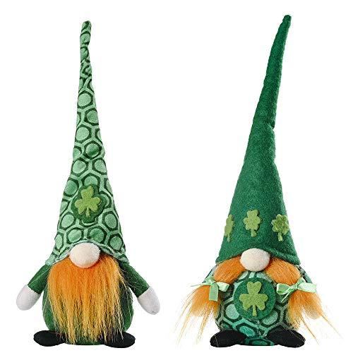 YANFANG Conejito del gnomo de Pascua, Conejito de Escritorio sin Rostro Hecho a Mano de los Ornamentos de Pascua de la Felpa (Green, 2pcs)