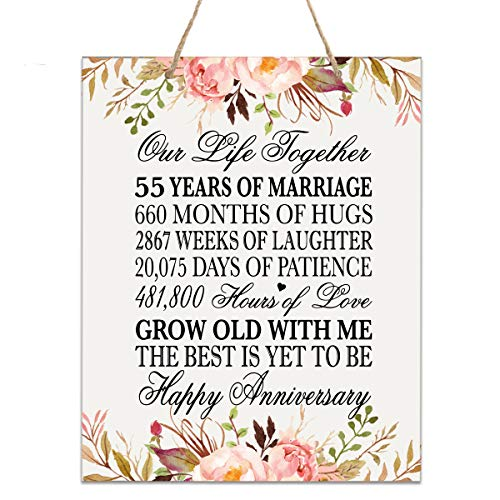 Floral 55th Anniversary Plaque