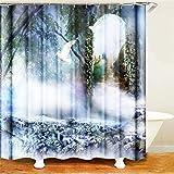SLN Haus Dekoration. Waldrauch Weiße Taube. Duschvorhang: 180X180 cm. 12 C-Förmige Haken. 3D Hd Druck. Wasserdicht. Nicht Verblassen.