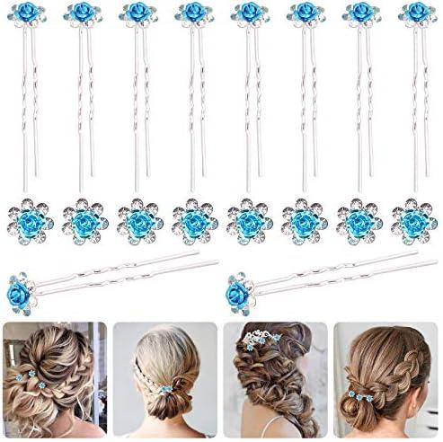 Rustark 40 Pcs Blue Crystal Hair Pins Rose Flower Rhinestone Hair Clips U Shaped Hair Pins Bobby product image