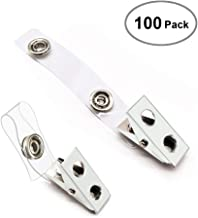 Orecla 100Pcs Premium Metal Badge Clips with Clear PVC Straps for ID Cards, Badge Holders, Name Tags, Work Badges