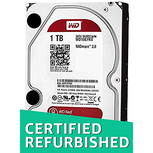 WD Red 1TB NAS Hard Disk Drive - 5400 RPM Class SATA 6 Gb/s 64MB Cache 3.5 Inch - WD10EFRX (Renewed)