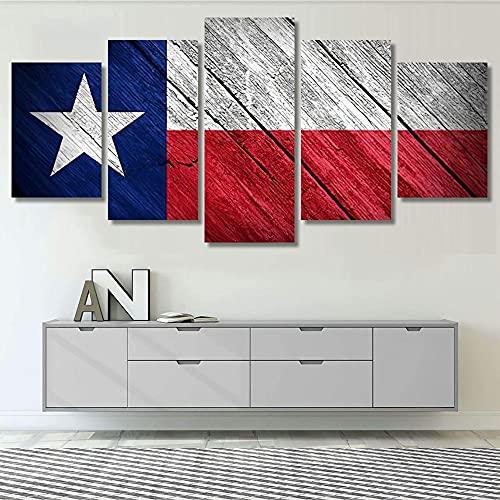 WKXZZS Pintura sobre Lienzo 150x80cmBandera de Texas Imagen Impresión, Pintura Decoración, Diseño de la Naturaleza, 5 Piezas, con Marco.