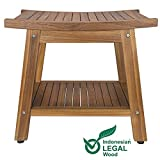Teak Shower Bench, Teak Shower Stool, 20' Sturdy Waterproof Stool with Shelf Foot Stool & Shower Shelf for Your Bathroom. Suitable for Both Indoor and Outdoor, Nander Stool, Assembly Required