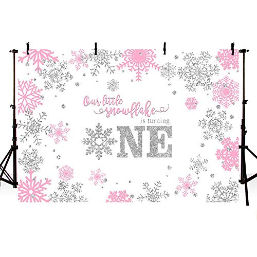 MEHOFOTO Girl Winter Onederland Photography Backdrop Props Sweet Little Snowflake Happy First One Birthday Pink Silver Winter Wonderland Party Decoration Photo Studio Booth Background Banner 7x5ft