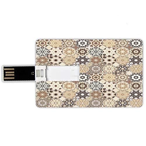 USB-Sticks 32GB Kreditkartenform Eastern Memory Stick-Bankkartenstil Achteckige und quadratische Verzierungen Retro farbige altmodische Fliese,beige dunkelbraunes hellbraunes, Wasserdichte stift daume