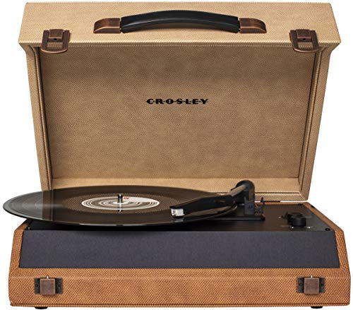 Crosley CR8018A-DD Momento Vintage Bluetooth 3-Speed Suitcase Turntable, Desert