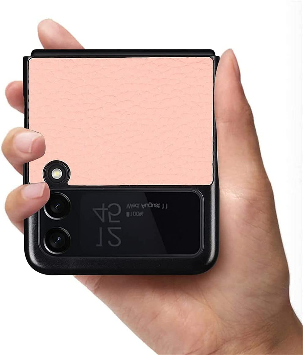Luxury Real Leather Shockproof Case with Hidden Stand for Samsung Galaxy Z Flip 3 5G,Magnetic Kickstand Ultra-Thin Leather Flip Protective Case for Samsung Galaxy Z Flip3 (Pink)