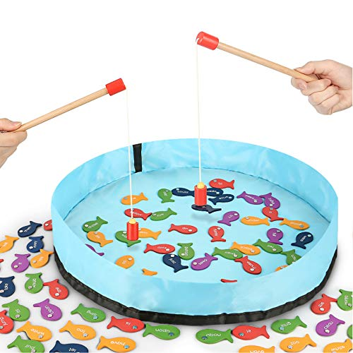 Gamenote Sight Words Wooden Magnetic Fishing Game - 220 Dolch Word with 2 Magnet Poles for Kindergarten Preschool Children (Activity Guide Include)