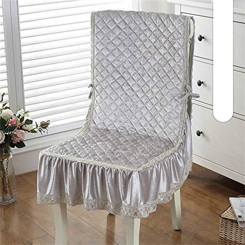 MissZZ Cojín para Silla de una Pieza Cojín para Asiento de Silla de Comedor, con Lazos Cojines para Silla de Oficina Cojines reclinables para sillón de jardín y Patio-Gris-b 50x145cm (20x57inch)
