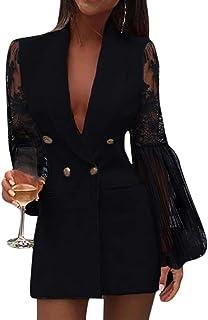 Minetom Vestiti Donna Elegante Partito Cocktail Abiti Paillettes Mini Abito Manica Lunga Paillettes Lustrini Brillante Min...