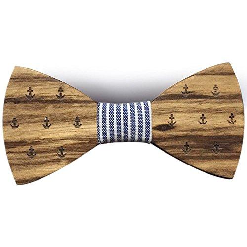 [Garanzia a vita] Papillon in legno fatto a mano con motivi Marina Blu