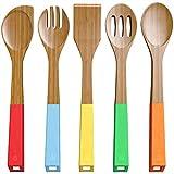Juego de 5 cucharas de bambú para cocinar – cucharas de madera y utensilios de espátula – madera de bambú no stic