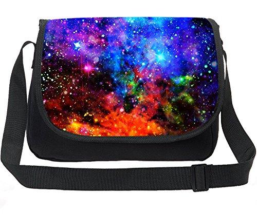 CAIWEI Retro Canvas Borsa a tracolla per laptop Borsa per notebook Borsa a tracolla Schoolbag Stampa Cosmic Space Fashion Borsa a spalla Maxi Galaxy modello … (Cielo stellato 5)