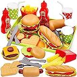 BUYGER Hamburguesa Comida Desmontar Juguetes, Cocina Alimentos Juguetes Plástico Accesorios con Bandeja Vajilla Juego de rol Regalos para Niños Niñas