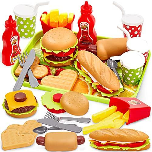 Buyger Cucina Cibo Giocattolo per Bambini Giochi Alimenti Hamburger Giocattoli Accessori Cucina, Giochi Bambini Bambina 3 Anni