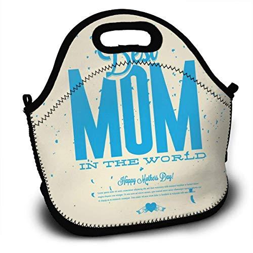 N / A Lunch Bag Tote Lunch Box para Mujeres Hombres Niños Organizador de almuerzos Enfriador Aislado con Correa para el Hombro para el Trabajo Escolar Picnic Gym La Mejor mamá del Mundo