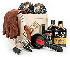 Man Crates Pit Master Barbecue Crate – The Ultimate BBQ Gift for Men – Includes Meat Claws, Wood Chips, Rubs, Sauces, Leather Gloves – Ships in A Sealed Wooden Crate with A Laser-Etched Crowbar