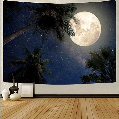 Luna tapiz colgante de pared paisaje cielo azul tapiz psicodélico fondo tela de pared manta toalla de playa tapiz A9 73x95cm
