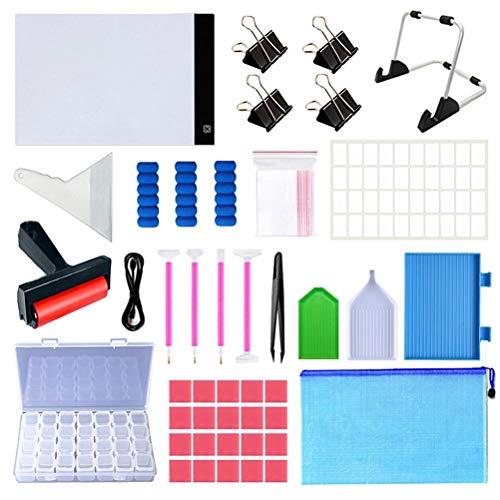 Kit de herramientas de pintura de diamante 5D, 63 piezas de accesorios de pintura de diamante DIY con caja de almacenamiento de 28 rejillas, tablero de copia, pinzas, bolígrafos de diamante