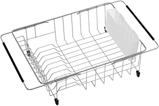SANNO Large Dish Rack Over Sink, Deep Dish drying Rack in Sink or On Counter,Adjustable Arms Dish Drainer Rustproof Stainless Steel with White Utensil Silverware Storage Holders