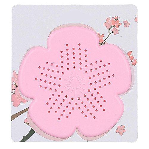 Hunpta Filtre d'évacuation des eaux usées en forme de fleur de cerisier pour évier de salle de bain, cuisine, bouchon anti-blocage pour revêtement de sol, filtre à cheveux (rose)