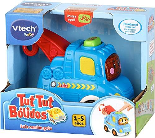 VTech- Lula camión grúa TutTut Bólidos Vehículo interactivo con voz, música y efectos de sonido, incluye botón sorpresa, Multicolor (80-516622) , color/modelo surtido
