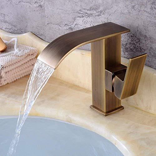 ZANYUYU Lavabo del Fregadero Grifo de baño Bar Moderno Grifo Cascada Agua Caliente y fría de cerámica 1 Agujero Sola manija baño Grifo del Lavabo del Fregadero