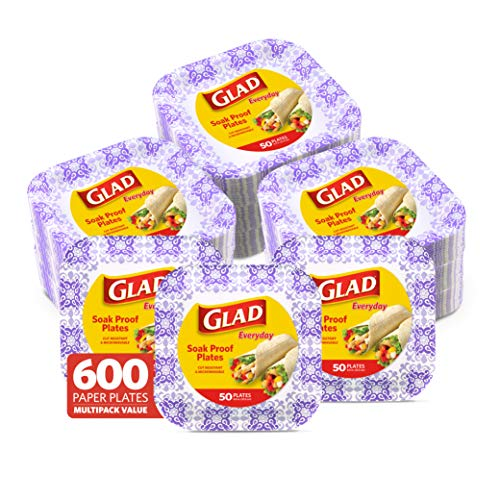 """GLAD Square Disposable Paper Plates for All Occasions   Soak Proof, Cut Proof, Microwaveable Heavy Duty Disposable Plates   8.5"""" Diameter, 600 Count Bulk Paper Plates"""""""