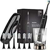AquaSonic Black Series PRO - Ultra Whitening 40,000 VPM Rechargeable Electric Toothbrush – ADA Accepted - Wireless Charging Glass - 6 Proflex Brush Heads & Travel Case – 4 Modes & Smart Timer -Sonic
