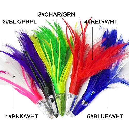 """5.5"""" Fishing Tuna Feather Rig Trolling Bullet Jet Head Lure Squirt Octopus Skirts Lures (5#Blue/WHT)"""