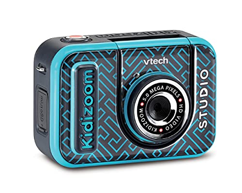 VTech KidiZoom Studio (Blue), Video Camera for Children with Fun Games, Kids Digital Camera with Special Effects, Rechargeable Battery, Ideal Christmas Gift for Boys and Girls from 5 Years +