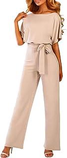 BERDITH Jumpsuit Elegante Donna Cerimonia Maniche Lunghe Scollo a V Rompers Tuta Pantaloni Larghi Siamesi Lunghi con Cintura Vita Alta Autunno Invernali per Festa Ufficio Business
