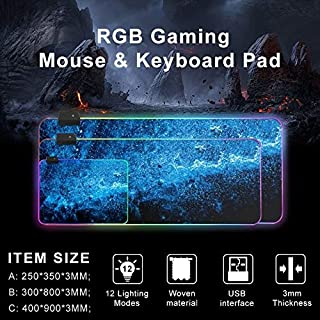 ZOUJIN Backlight LED Computer Large Mousepad Anti-slip Starry Gaming Mouse Pad (Size : 300 * 800 * 3mm)