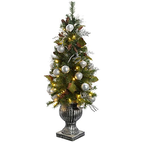 WeRChristmas Pre-Lit Potted Christmas Tree with 50 Warm White LED Fairy Lights, 4 feet/1.2 m - Silver/Blue