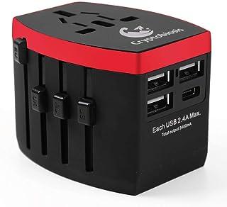 海外 変換プラグ 150ヶ国以上対応 3つのUSB 1つのType-C 高出力5V3.4Aで急速充電 A O BF Cタイプのマルチ充電 アダプター (ブラック)