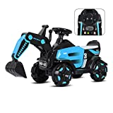 Children's Electric Excavator Toy Car for Girl Boy Can Sit, Large Charging Engineering
