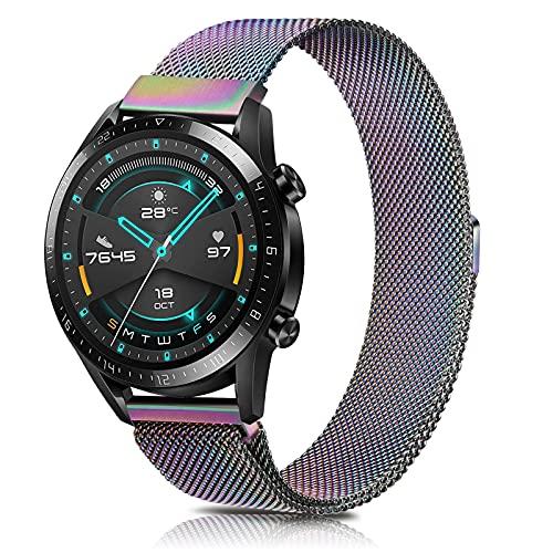 SHENL Correa Compatible con Huawei Watch GT2, 22mm Metal Pulsera de Repuesto de Acero Inoxidable para Huawei Watch GT2 Classic / GT2 Pro 46mm / Huawei Watch GT 2e / GT Sport Active 46 mm (Vistoso)