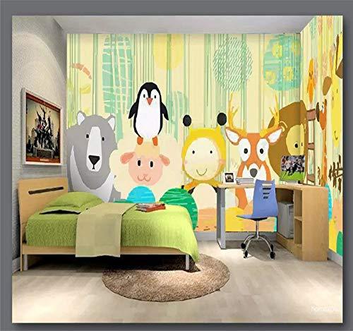 DZBHSCL 4D behang wandschilderingen, Nordic cartoon bos Penguin beer en herten dieren kunstdruk formaat fotobehang voor kinderkamer kinderkamer achtergrond wanddecoratie 116in×192in 290cm(H)×480cm(W)