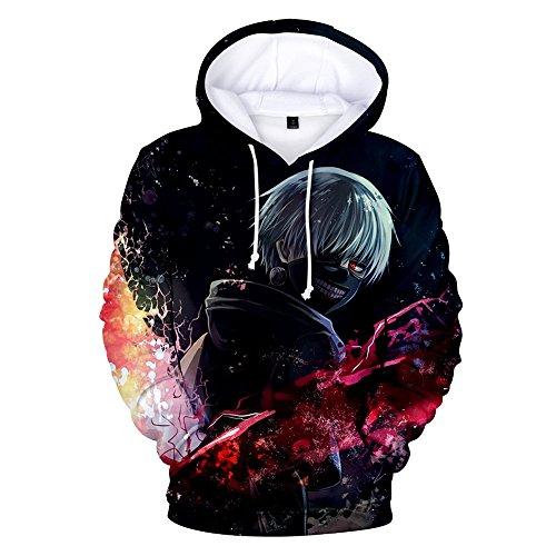 Zhangjianwangluokeji Japanischer Anime Ken Kaneki 3D Print Pullover Sportswear Sweatshirt Hoodie (L, Farbe 1)