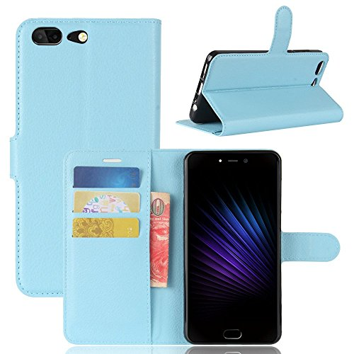 Tasche für Leagoo T5 Hülle, Ycloud PU Kunstleder Ledertasche Flip Cover Wallet Case Handyhülle mit Stand Function Credit Card Slots Bookstyle Purse Design blau