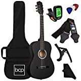 Best Choice Products 38in Beginner All Wood Acoustic Guitar Starter Kit w/Gig Bag, Digital Tuner, 6 Celluloid Picks, Nylon Strings, Capo, Cloth, Strap w/Pick Holder - Matte Black