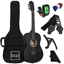 Best Choice Products 38in Beginner All Wood Acoustic Guitar Starter Kit w/Gig Bag, Digital Tuner, 6 Celluloid Picks, Nylon Strings, Capo, Cloth, Strap w/Pick Holder - Matte Black