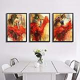 Arte de la figura Pintura de baile flamenco español Cuadro de lienzo Póster de bailarina de flamenco Pintura decorativa para sala de estar Decoración del hogar-40x50cmx3 Sin marco