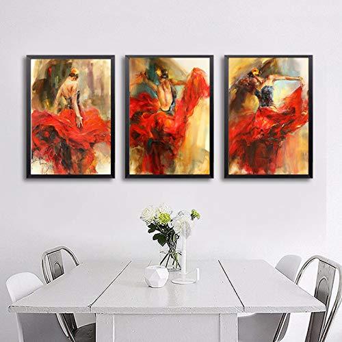 Arte de figura pintura de baile flamenco español lienzo cartel de bailarina de flamenco pintura para sala de estar decoración del hogar 70x110cm sin marco