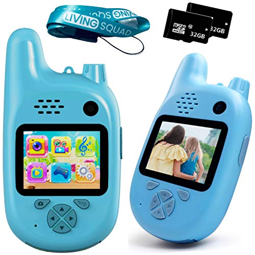 Kids Digital Camera with Walkie Talkies Function- Set of Two Blue- Rechargeable Battery and 32 GB Micro SD - Kids Camping Toys for Outdoor Radio - Short Range - with MP3 Player, Video Recorder, Games